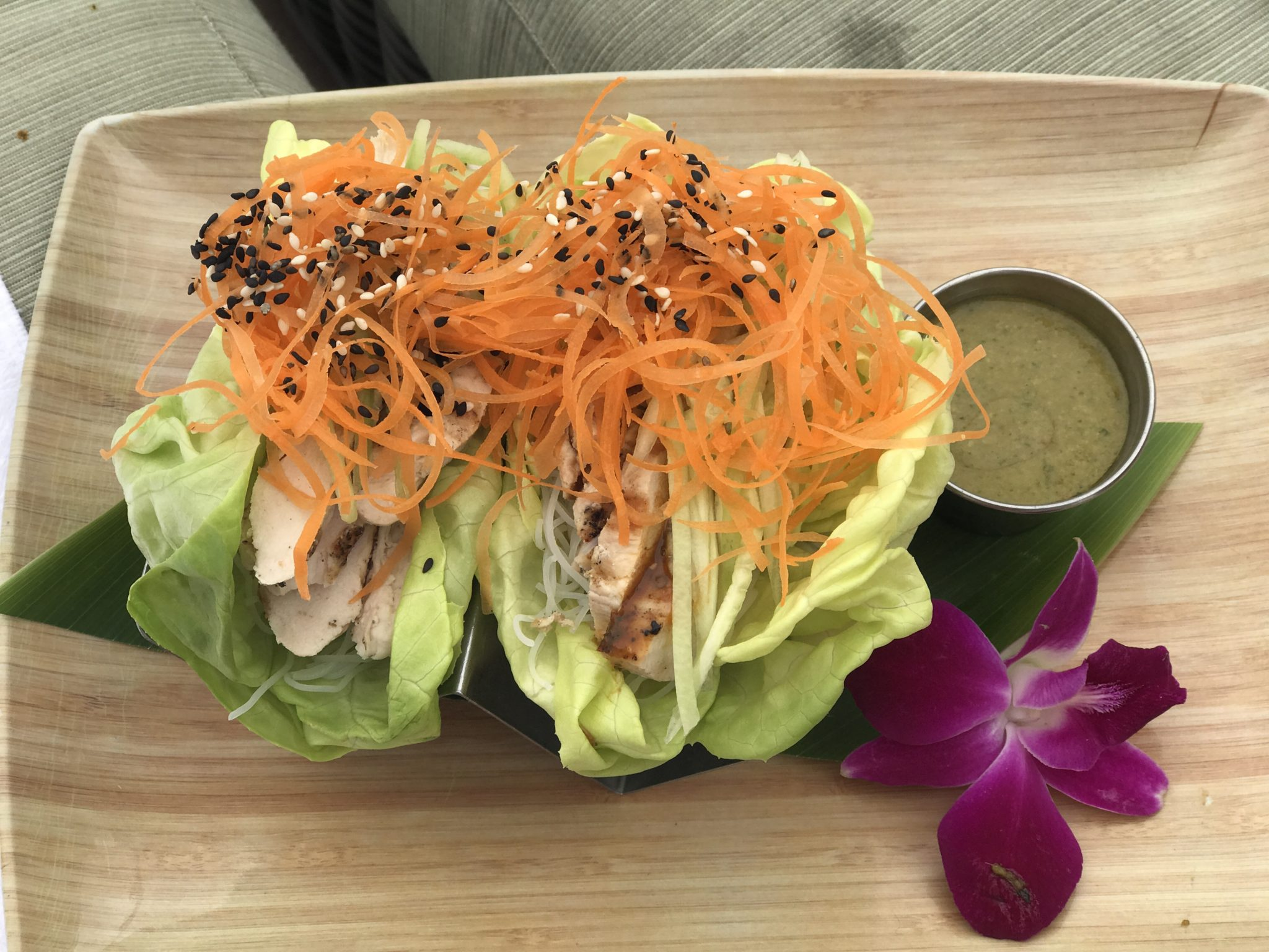 Chicken lettuce wraps at the spa bistro